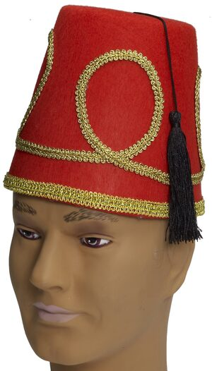 Red and Gold Morrocan Fez Hat