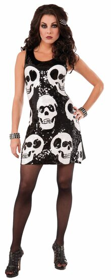 Sequin Skull Skeleton Adult Costume