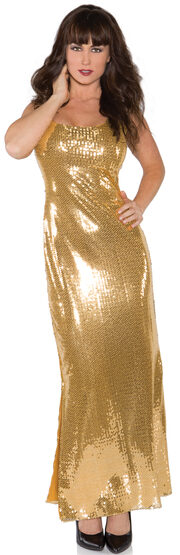 Sexy Long Golden Sequin Costume