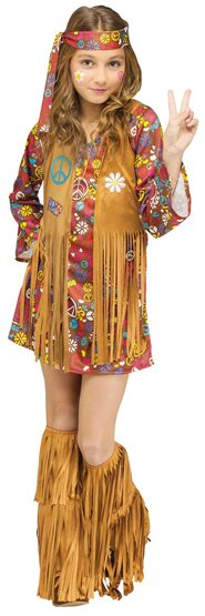 Peace Hippie Girl Kids Costume