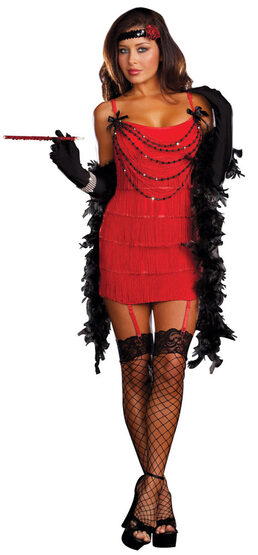 Sexy Ruby Red Hot Flapper Costume