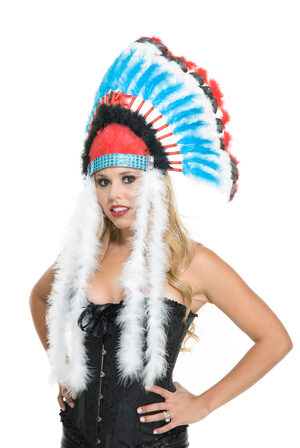 Red and Blue Indian Headdress