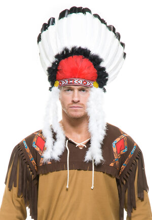 Red, White and Black Indian Headdress