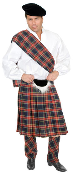Navy Scottish Kilt Plus Size Costume