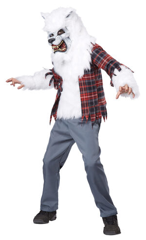 White Werewolf Scary Kids Costume