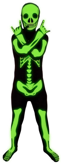 Glow in the Dark Skeleton Morphsuit Kids Costume