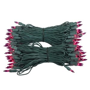 "100 Purple Mini Halloween Lights, 6"" Spacing, Green Wire"