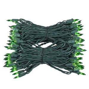 "100 Green Mini Halloween Lights, 6"" Spacing, Green Wire"