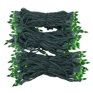 "150 Green Mini Halloween Lights, 6"" Spacing, Green Wire"