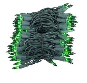 "100 Green Mini Halloween Lights, 2.5"" Spacing, Green Wire"