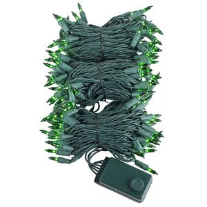 "140 Green Chasing Mini Halloween Lights, 4"" Spacing, Green Wire"