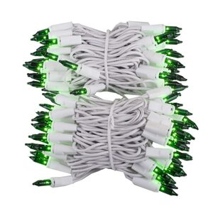 "100 Green Mini Halloween Lights, 2.5"" Spacing, White Wire"