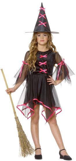 Girls Neon Pink Witch Kids Costume