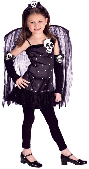 Girls Skull Fairy Kids Costume
