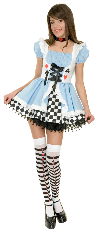 Clever Alice in Wonderland Fairytale Teen Girls Childs Fancy Dress Costume