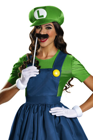 Super Mario Brothers Luigi Skirt Adult Costume