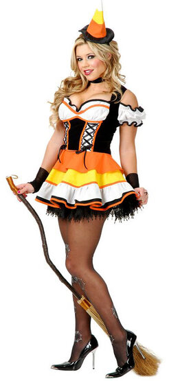 Sexy Womens Candy Corn Witch Costume
