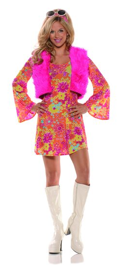 60's Pretty Pink Go Go Adult Costume