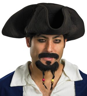 Adult Pirate Hat with Moustache and Goatee