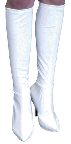 White Vinyl Knee High Boot Covers