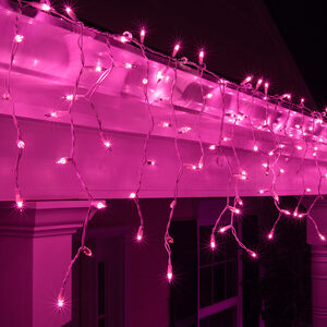 100 Mini Purple Icicle Lights, White Wire