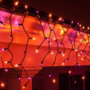 Halloween Lights - 150 Mini Purple, Orange Icicle Lights, Black Wire ...