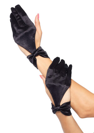 Black Satin Cut Out Gloves with Bow