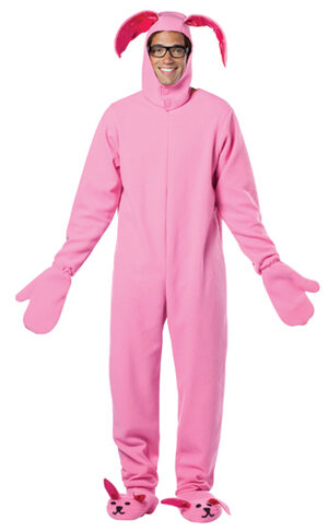 Funny Christmas Story Pink Bunny Adult Costume