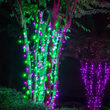 70 5mm Purple, Green LED Halloween Lights on Black Wire