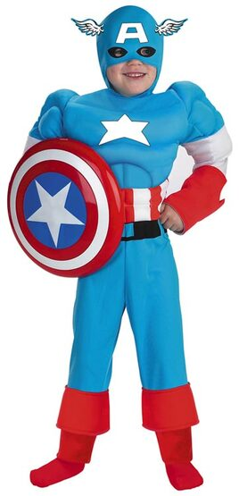 Captain America Muscle Chest Kids Superhero Costume