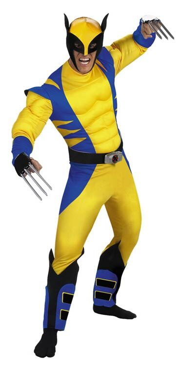 LICENSED DELUXE MUSCLE CHEST ADULT WOLVERINE X-MEN SUPERHERO HALLOWEEN COSTUME