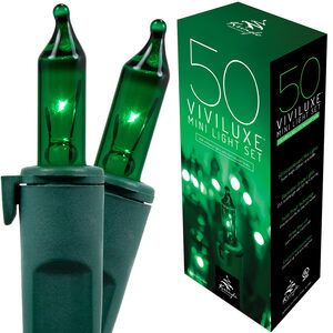 "50 Green Mini Halloween Lights, 5.5"" Spacing, Green Wire"