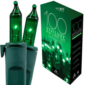 "100 Green Mini Halloween Lights, 5.5"" Spacing, Green Wire"