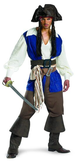 Adult Captain Jack Sparrow Deluxe Pirates of the Caribbean Costume
