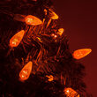70 C6 Amber LED Halloween Lights on Green Wire