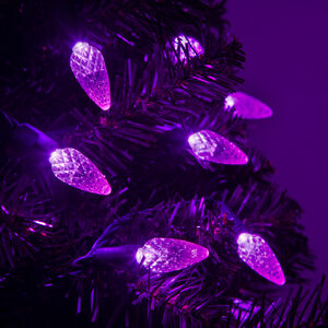 70 C6 Purple LED Halloween Lights on Green Wire