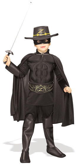 Zorro Muscle Chest Deluxe Kids Costume