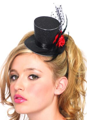 Womens Rose Glitter Petite Top Hat