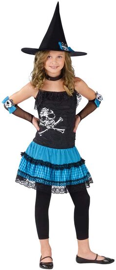Kids Funky Punk Girls Witch Costume