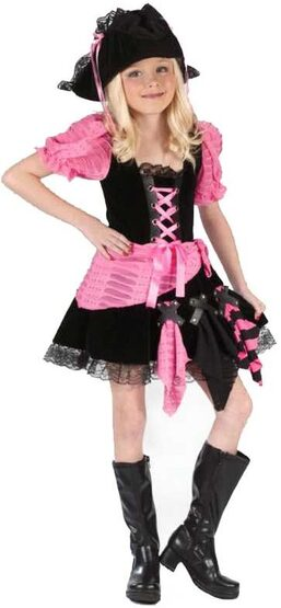 Kids Pink Punk Pirate Costume
