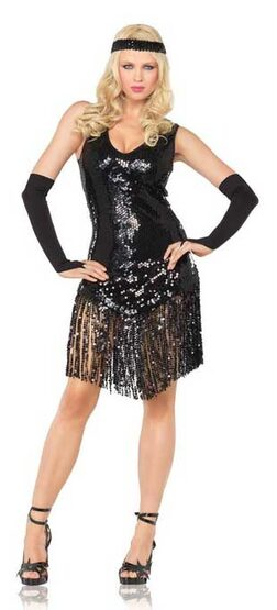 Sexy Sequin Dress Black Flapper Costume