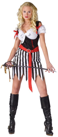 Sexy Stripe Pirate Wench Costume