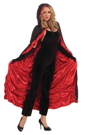 Black and Red Hooded Coffin Cape