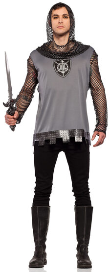 Mens Hooded Medieval Knight Adult Costume