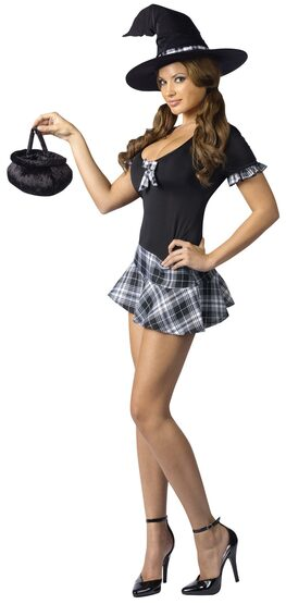Womens Sexy School Girl Witch Costume