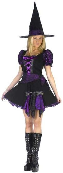Womens Purple Punk Witch Sexy Costume