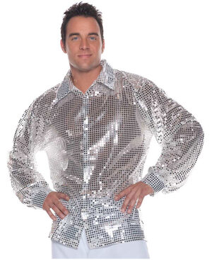 Mens Silver Sequin Disco Costume