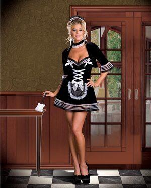 Black Velvet Sexy French Maid Costume
