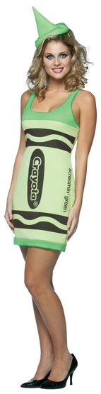 Womens Sexy Green Crayola Crayon Costume