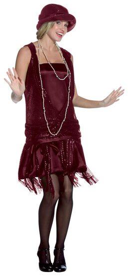 1920s Gatsby Girl Burgundy Flapper Dress Costume